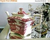 Antique Royal Strafforshire Tonquin Teapot Red Transferware Paris Apartment Cottage Chic