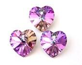 3 Vitrail light heart Swarovski crystal pendants, 10mm lavender purple