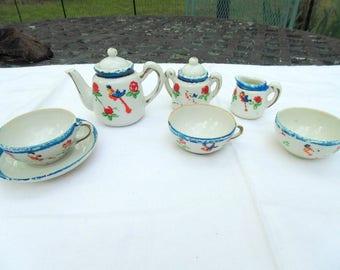 Vintage Tea Set. 7 pc. antique. Childs Tea Set. Porcelain Tea Set. Doll Dishes. well worn. Vintage 1920s. stage prop. photo shoot.