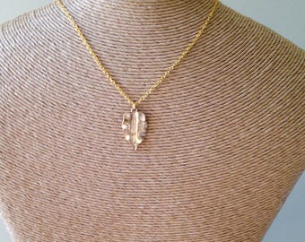 Leaf Necklace, Autumnal Necklace, Gold Over Brass, Brass Chain, Sculptural Necklace, Pendant Necklace, Fall Necklace, Etsy