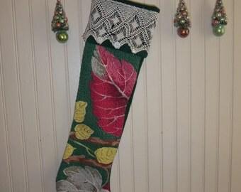 SALE: Christmas Stocking, Vintage Barkcloth, Antique Lace, Handmade,