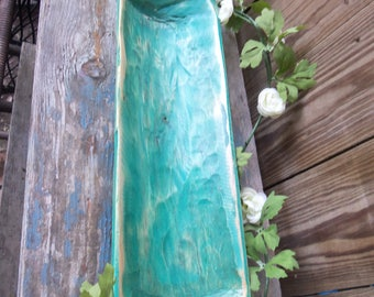 """20"""" Hand Carved Narrow Wood Bowl, Rustic, Primitive, Turquoise"""