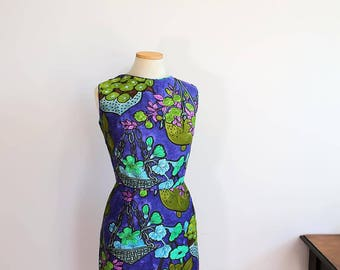 1950s Hawaiian Dress Waltah Clark // xs