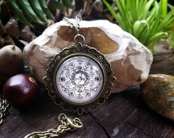 September Nature Mandala Pendant Necklace (antique bronze finish)