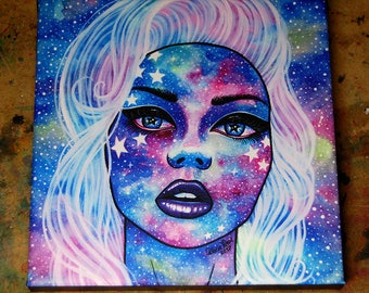 8x8 in Square Stretched Canvas Print - Interstella IV - Beautiful Galaxy Face Star Portrait Girl - Outer Space Cosmic Illustration