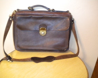 "Vintage Heavy High Quality Belting Saddle Leather Briefcase Bag Attache Laptop Carrier by Delfino 15""x 11"""
