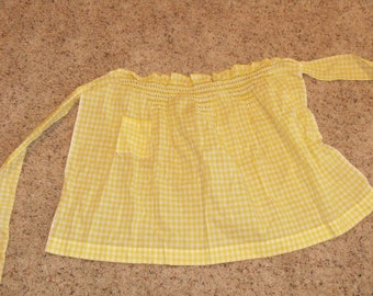 Vintage Yellow Gingham Check apron