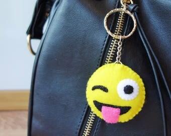 Emoji Keyring - Cheeky Wink Face