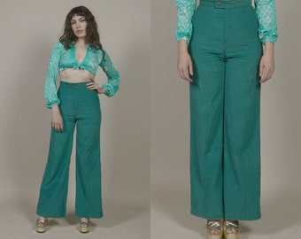 Levi's Bell Bottoms Green 70s Corduroy Pants Wide Leg Trousers High Waisted 1970s Hippie Long Length Boho / Size S M Small Medium