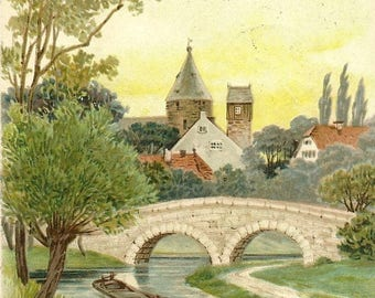 Antique Postcard GREETINGS Arched Bridge Over River Lone Boat and Town View 1911
