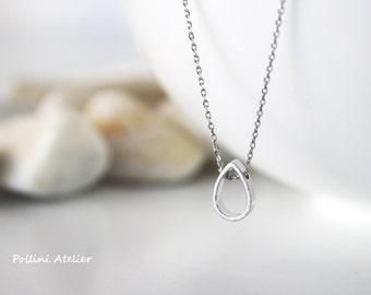 Teardrop Necklace in Silver/ Gold. Simple Necklace. Modern Necklace.  Everyday Wear. Birthday. Christmas. Gift For Her (PPNL-200)