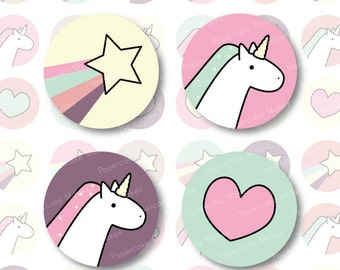 One Inch Circles Pretty Unicorn for Scrapbooking, Collage, Bottlecaps, Party Decor