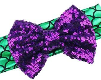 Mermaid Scales Metallic Headband with Purple Sequin Big Messy Bow Headband Fits Babies and Toddlers - Ariel Princess Birthday Little Mermaid
