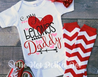 "Infant Baby Girl ""My Heart Belongs to Daddy"" Red, Black, and Hot Pink on White Bodysuit - Valentin'es Day Baby Onesie - Cupid Cutie"