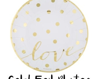"""8"""" SMALL Gold Foil LOVE Polka Dotted Dot Dessert Bridal Shower Wedding Party Plates - Set of 10"""