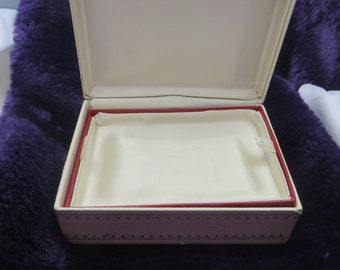 Small Jewelry Box Vintage Jewelry Box Ivory with Red Velvet