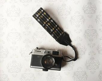 Wrist Camera Strap, Padded, Nikon, Canon, DSLR Photography, Photographer Wrist Strap, Wedding Photographer Gift, Wristlet - Arrows on Black