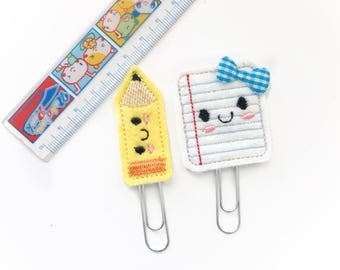 Cute paper and pencil set planner clip / organizer clip /  Paperclip / Planner Bookmark - Paperclip Bookmark - Planner Clips