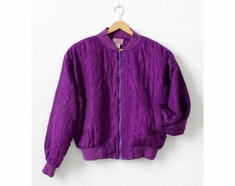 Vintage Bomber Jacket M • Silk Bomber Jacket • Purple Jacket • Quilted Jacket • 90s Jacket • Cropped Jacket • Grunge Jacket   O351