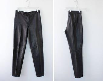 North Beach Leather Pants M • 80s Pants • High Waisted Pants • Brown Leather Pants • Motorcycle Pants | P130