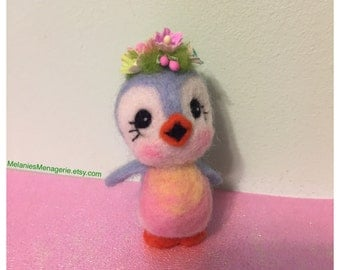 Bluebird of Happiness / Felted Bird / Soft Sculpture / Bird with Flowers on Head