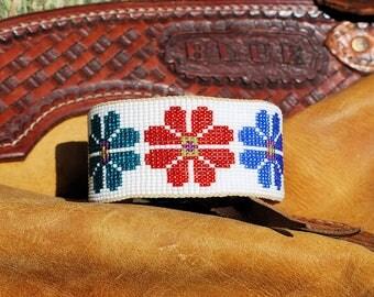 Flowers on White Southwestern On-Loom Bead Woven Cuff Bracelet