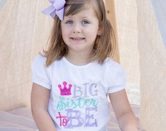 Big Sister to Be embroidered shirt set