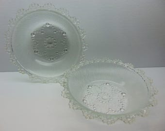 Vintage Pressed Glass Bowls, Japanese Aderia, Bubble Lace Edged  Bowls, Set of 2