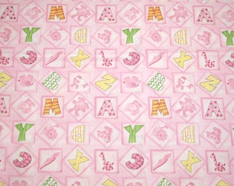 """Precious Pink """"BFFs - Baby's First Friends"""" ABCs and Sweet Animals OOP New Fabric - 2 Yards, 44-Inch Wide Piece"""