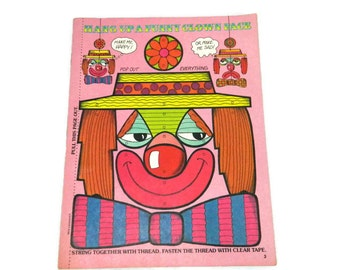 Vintage Scholastic Peanut Butter Magazine 1984 Circus Crafts Kid's Activity Magazine Paper Crafts Coloring Poster Clown Children's Decor
