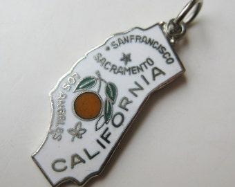 Vintage Charm Silver & White Enamel California State Souvenir Bracelet Charm