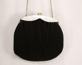 1950s Black Shoulder Bag - Round 50s Wool Handbag with Chainlink Strap - Pearlescent White Lucite Trim - Detachable Chain Strap - 48970