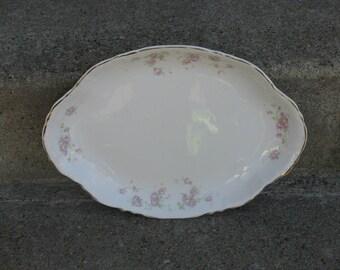 Homer Laughlin hudson pink platter republic 13 inch pink roses shabby cottage feminine