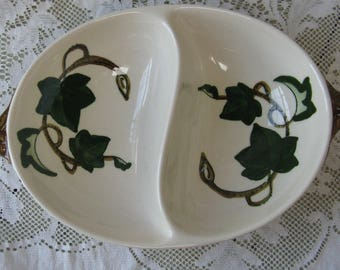 metlox poppy trail california ivy divided bowl hand painted mid century pottery