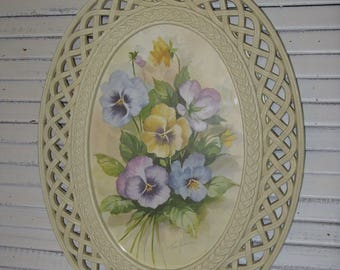 home interiors pansies in white rattan frame syroco plastic signed fran anderson watercolor look shabby cottage romantic
