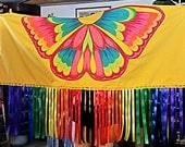 Fancy Dance Shawl Girl Regalia NDN Rainbow Ribbon Fringe Yellow Butterfly Aplique
