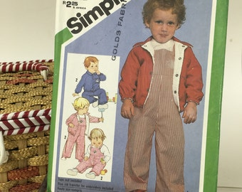 Vintage SIMPLICITY #9820 Sewing Pattern/Toddlers/Lined Jacket/Overalls