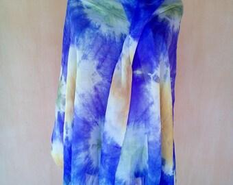 Uzbek pure silk batik shawl. Margilan silk. Tie dye scarf. SC030
