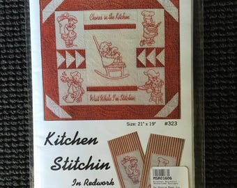 Kitchen Stitchin Redwork Emroidery Quilt Pattern Oceanlake Designs Tea Towels Chores