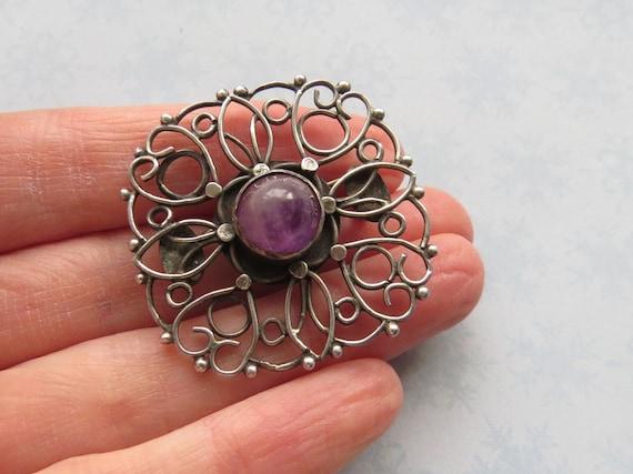 VINTAGE Handmade Arts & Crafts Sterling Silver Amethyst BROOCH