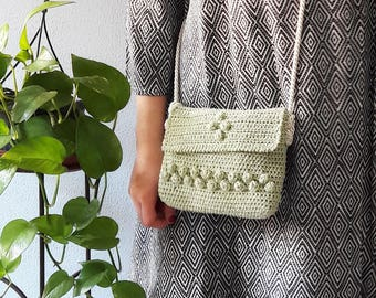 Crochet cotton bag, crossbody little bag, shoulder crochet purse, summer bag