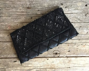 1950s Black Satin Beaded Evening Clutch