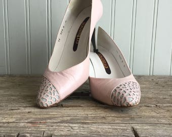 1960s Leather Pumps, Pink and Grey, Donatello