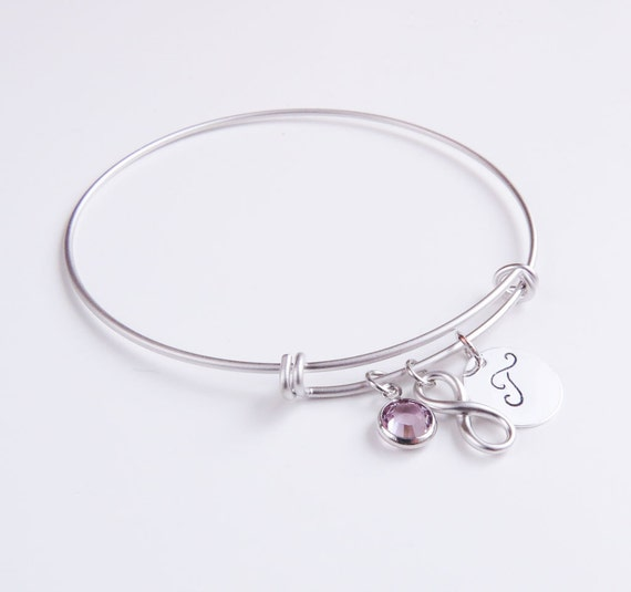 Personalized Silver Charm Bangle Bracelet | Silver Charm Bangle Bracelet  | Silver Bangle | Personalized Bangle | Gifts for her