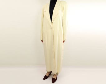 VINTAGE Duster Jacket 1980s Cream Long