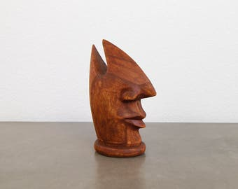 VINTAGE Wood Carved Sculpture Nose Face Small Statue Home Decor