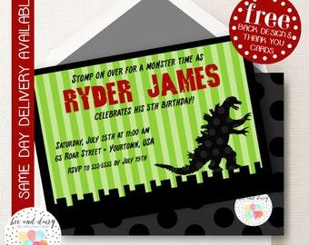 Godzilla Invitation, Godzilla Birthday Invitation, Godzilla Birthday Party, Godzilla Party Invitation, BeeAndDaisy