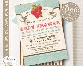 Vintage Strawberry Baby Shower Invitation, Strawberry Invitation, Strawberry Party, Girl Baby Shower, Girl Birthday, Strawberry Invite