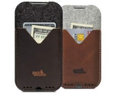 iPhone 7 PLUS / 6s PLUS wallet case cover - KIRKBY -  100 % wool felt, pure vegetable tanned leather sleeve
