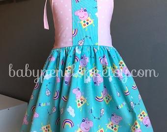 The Marilyn Dress - Peppa Pig - Peppa Birthday Dress - Peppa Outfit - Peppa Birthday - Vintage Inspired Dress for Girl